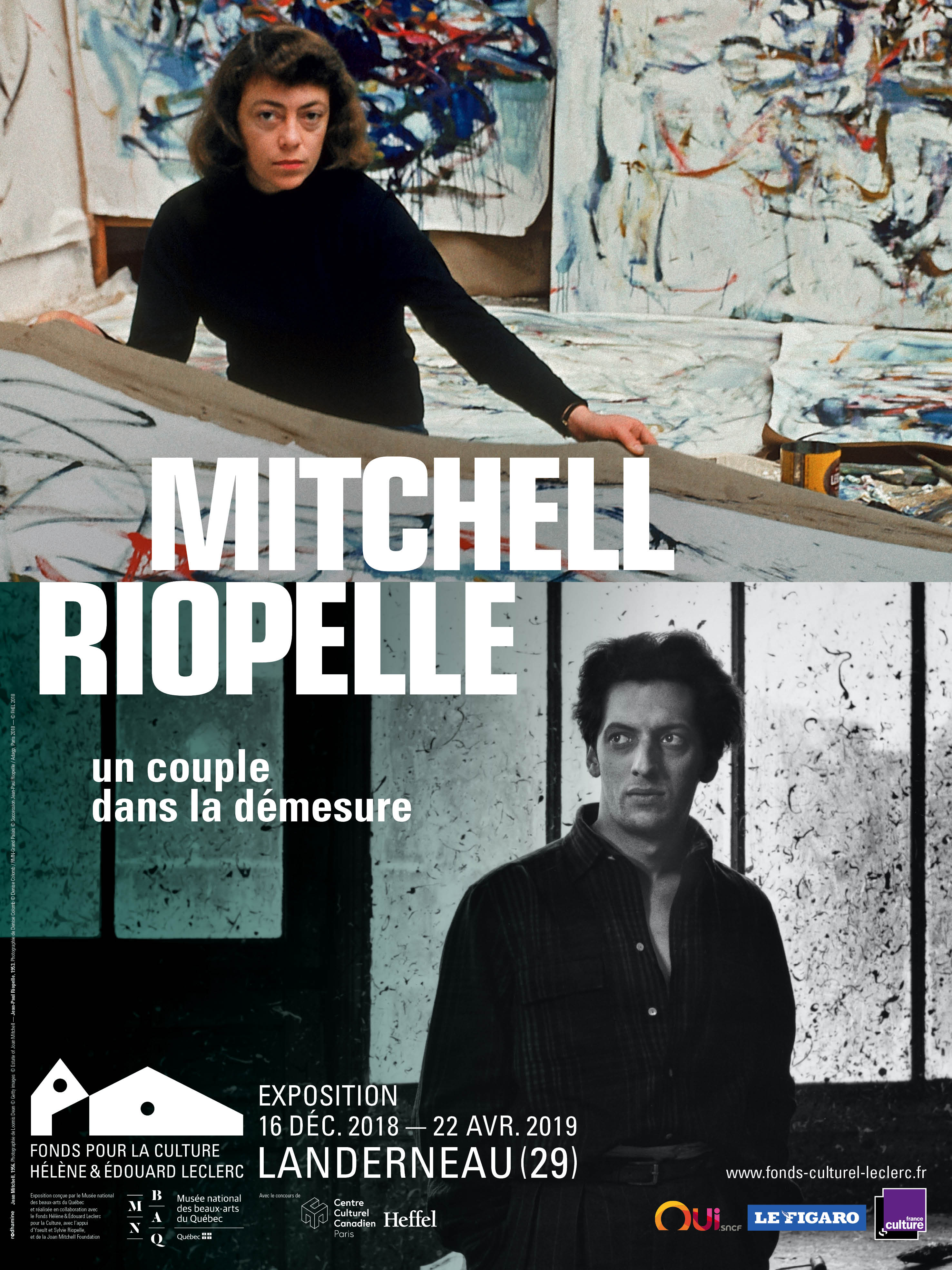 Affiche_Mitchell, 1956 Photo L.Dean © Getty Images © Estate of Joan Mitchell_Riopelle, 1953 Photo D.Colomb - RMN Grd Palais © Succession Riopelle-Adagp2018 © FHEL 2018